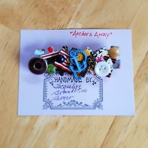 """Anchors Away"" handmade pin"